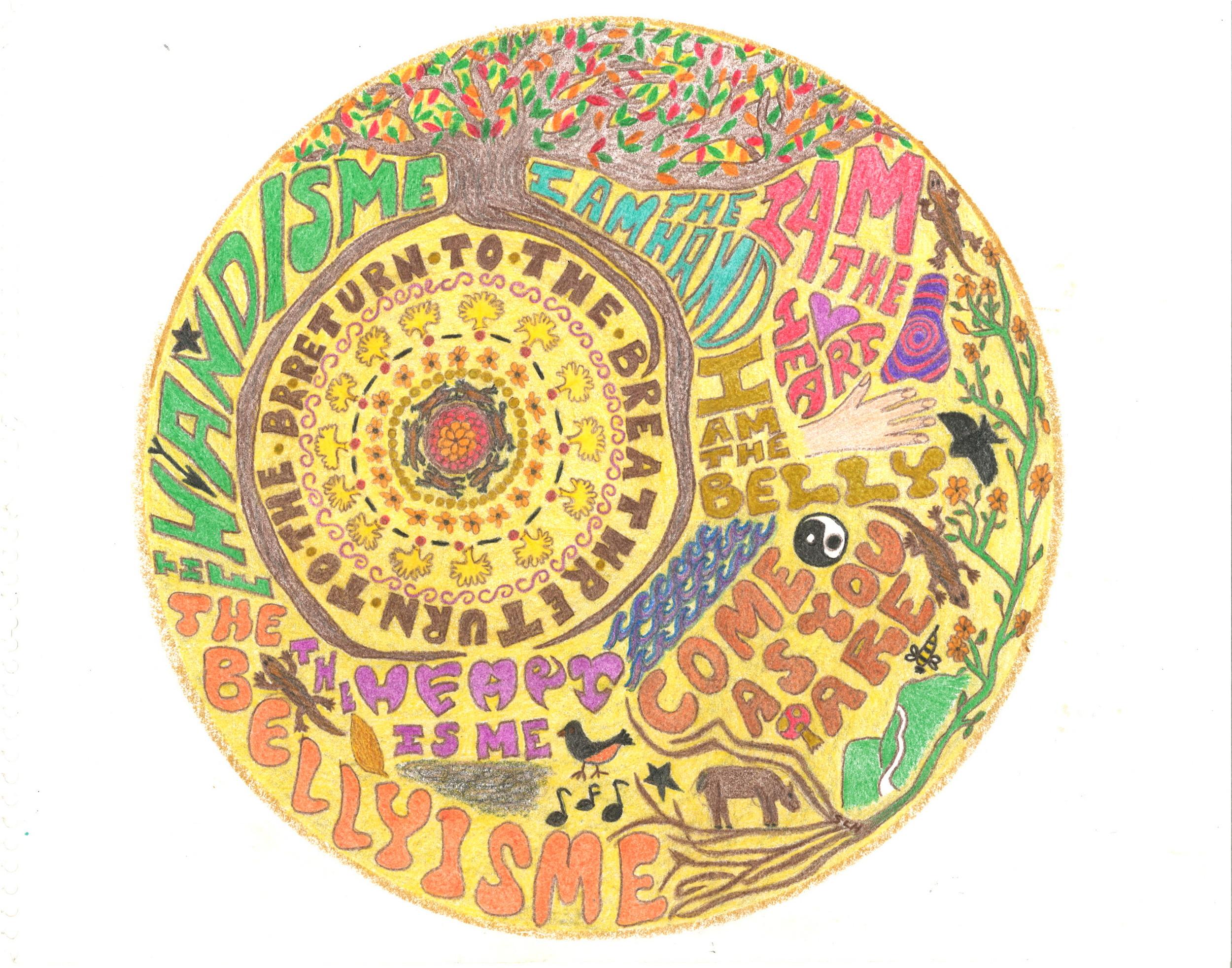 Mandala drawing by Sherry Hamby,Power of Presence Women's Retreat, September 2015