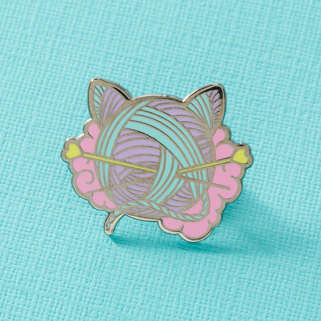 Kitten Wool Ball enamel pin, to adorn project bags!  For knitty cat lovers.