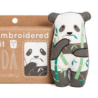 Try your hand at embroidery with this adorable panda doll kit!