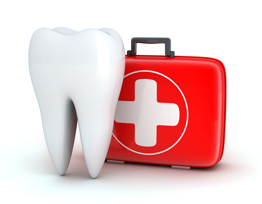 Tooth with a first aid kit to help in a dental emergency