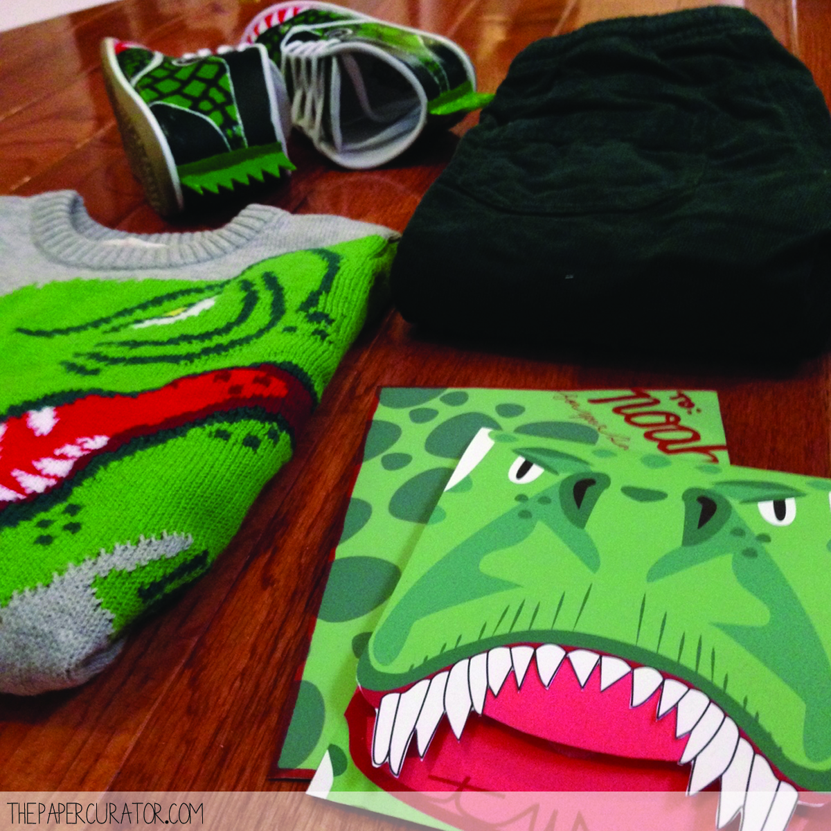 THE H&M SWEATER AND CORDUROY TRACK PANTS THAT INSPIRED MY DINOSAUR SHOES, AND MATCHING BIRTHDAY CARD!