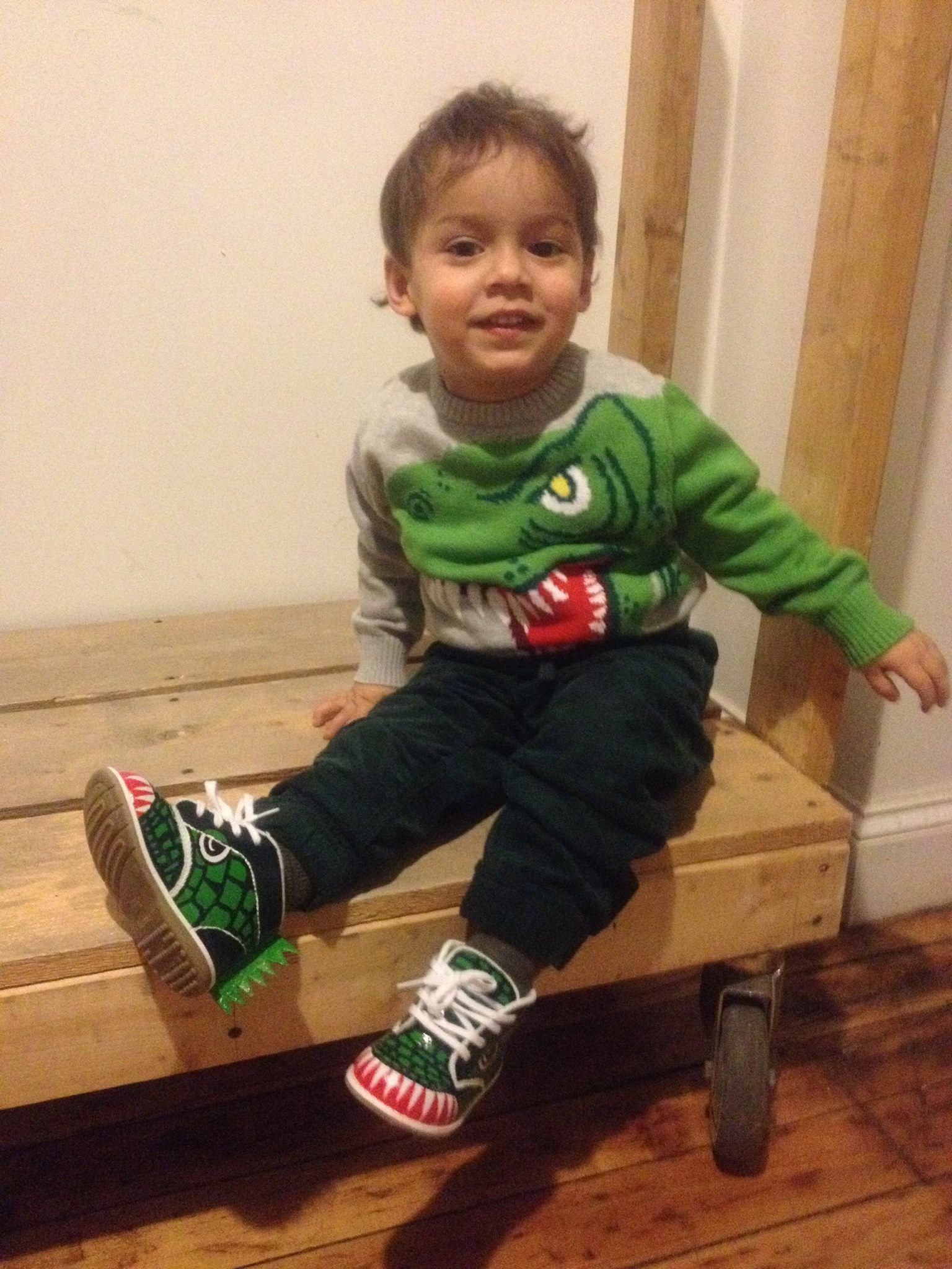 MY NEPHEW NOAH ROCKING HIS DINOSAUR SHOES AND SWEATER!