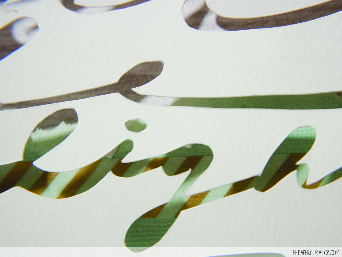 CUTOUT SCRIPT DETAIL ON  'LIGHT ON MY SHOULDER' | THE PAPER CURATOR