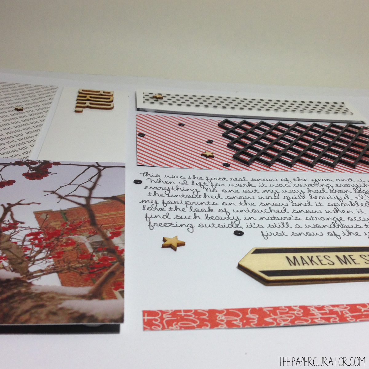 'BRR.' SCRAPBOOK LAYOUT FOR SUNDAY SKETCH SERIES | THE PAPER CURATOR