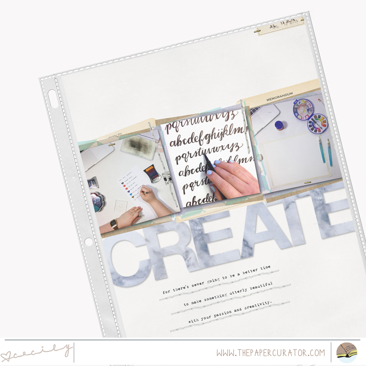 SUNDAY SKETCH SERIES NO. 33 WITH 'CREATE' SCRAPBOOK LAYOUT | THE PAPER CURATOR