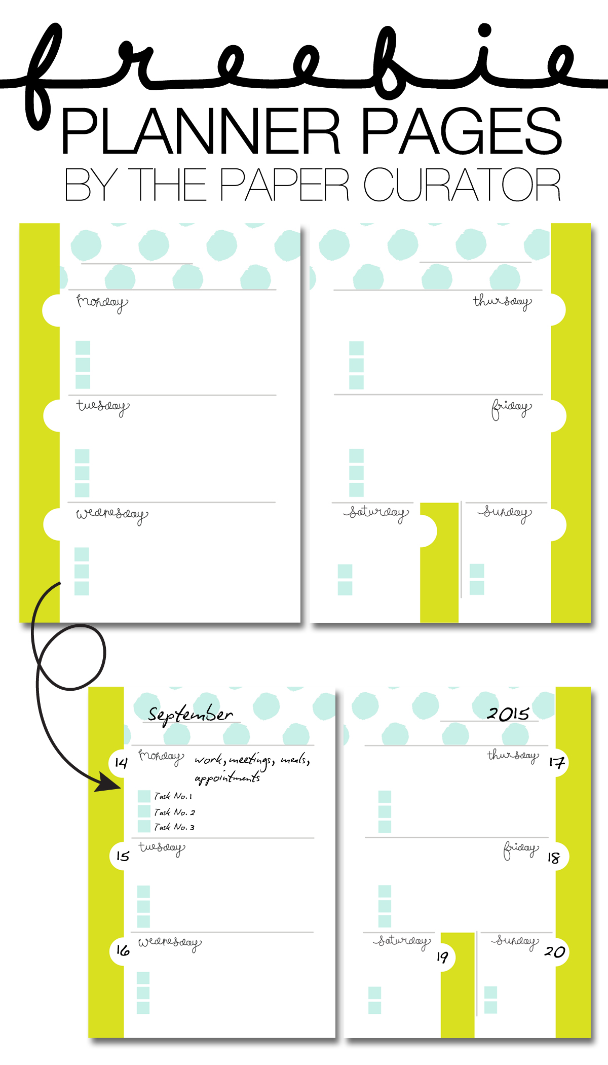 FREEBIE PLANNER PAGE PRINTABLES BY THE PAPER CURATOR