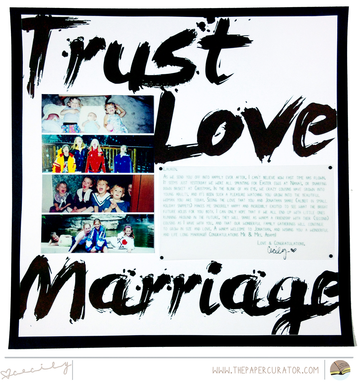 WEEKLY PAGE SKETCH WITH SCRAPBOOK LAYOUT 'TRUST LOVE MARRIAGE' | THE PAPER CURATOR