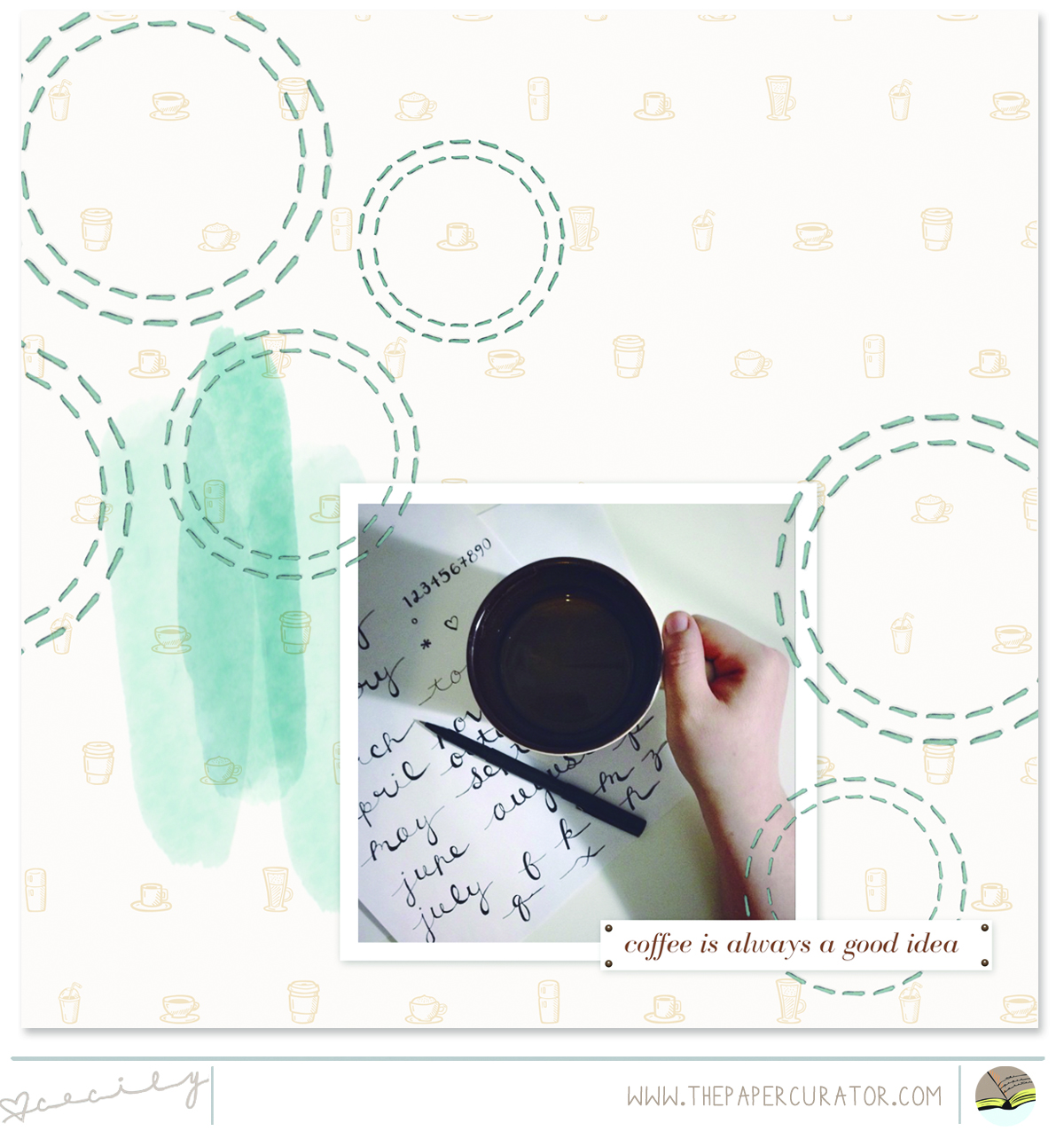 'COFFEE' SCRAPBOOK LAYOUT | THE PAPER CURATOR
