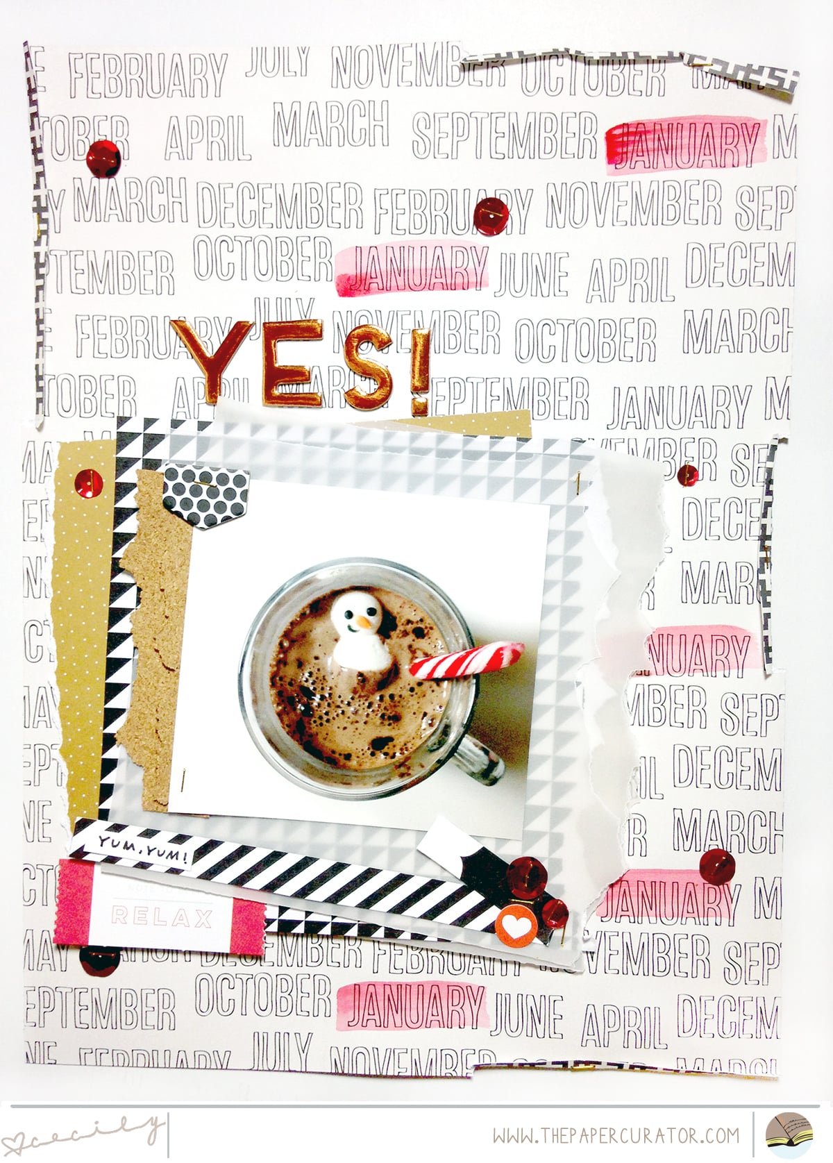 YES! SCRAPBOOK LAYOUT | THE PAPER CURATOR