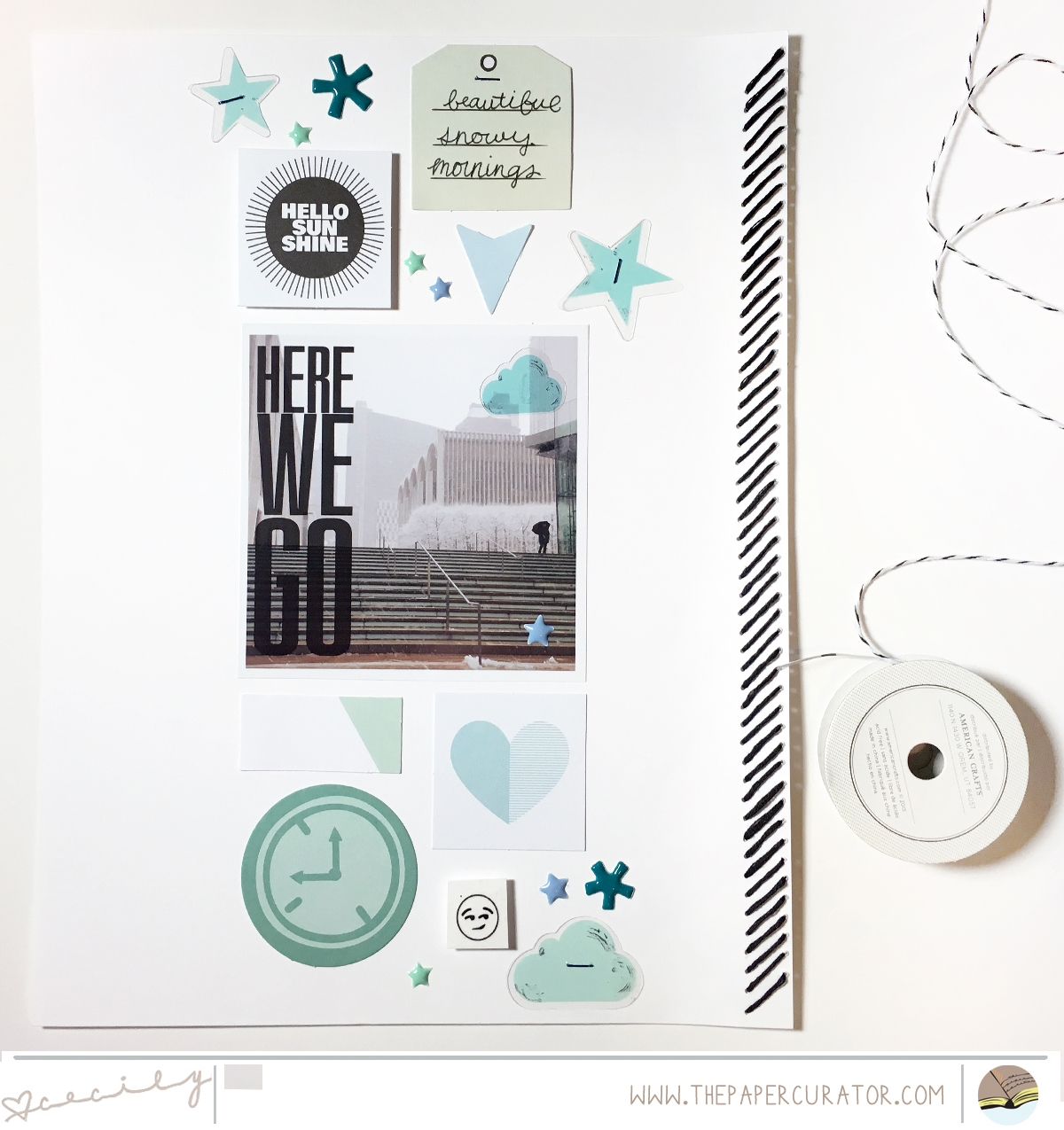 'HERE WE GO' SCRAPBOOK LAYOUT   THE PAPER CURATOR