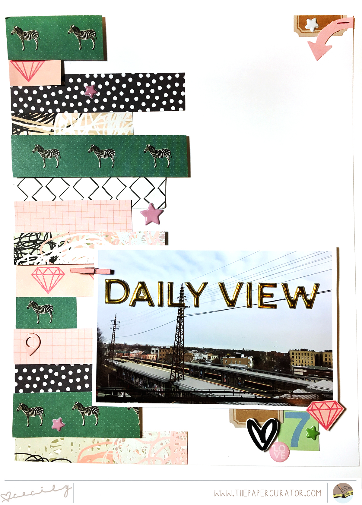 'DAILY VIEW' SCRAPBOOK LAYOUT | THE PAPER CURATOR