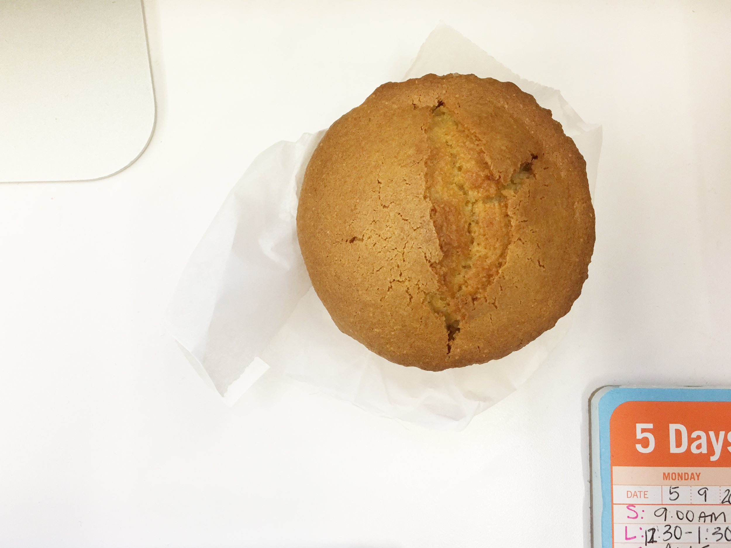 Time for a little mini break - which means my morning corn muffin, yum yum