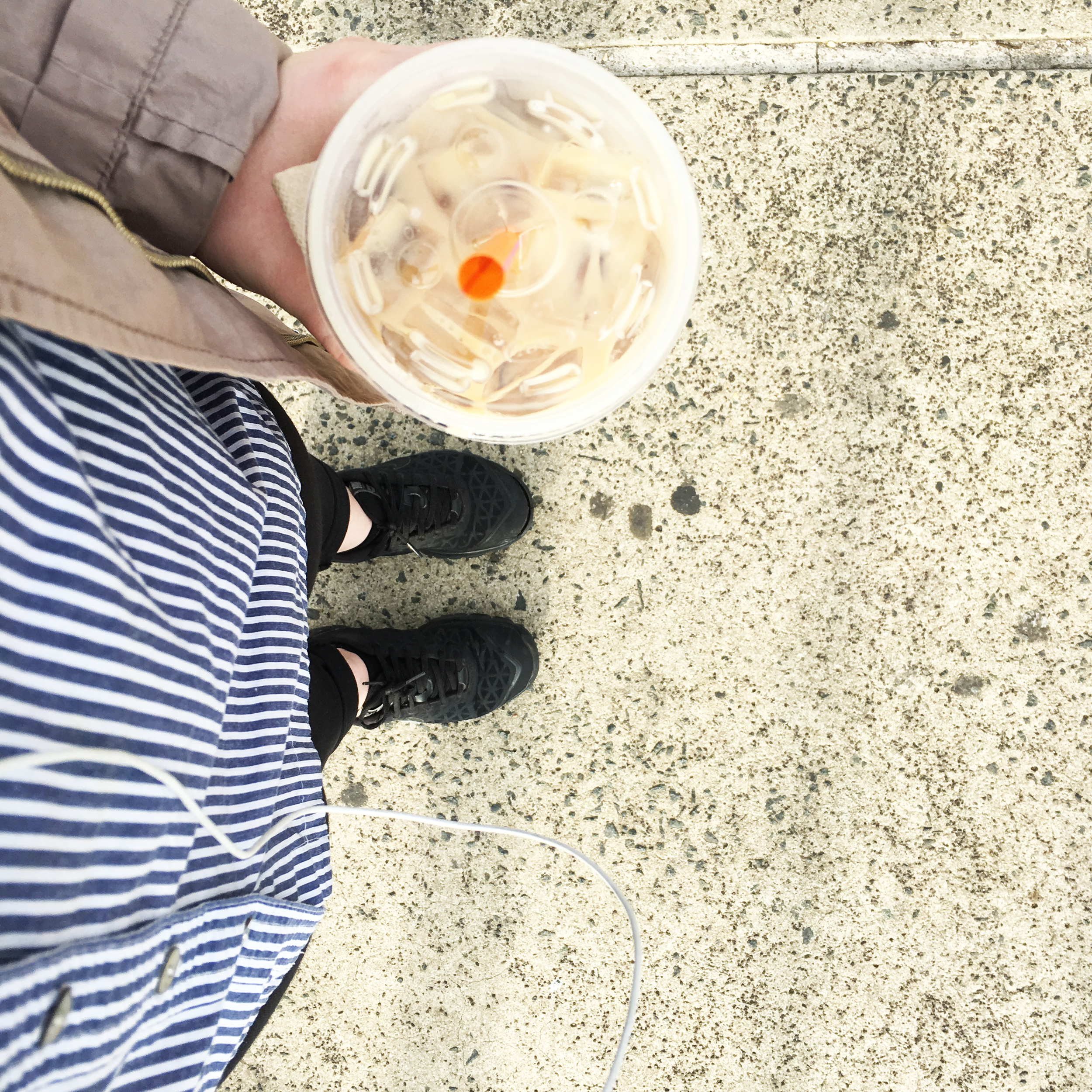 The daily coffee - Iced Caramel, Extra Milk. And waiting for the train today, not sprinting to catch it before the doors close - a nice change of pace