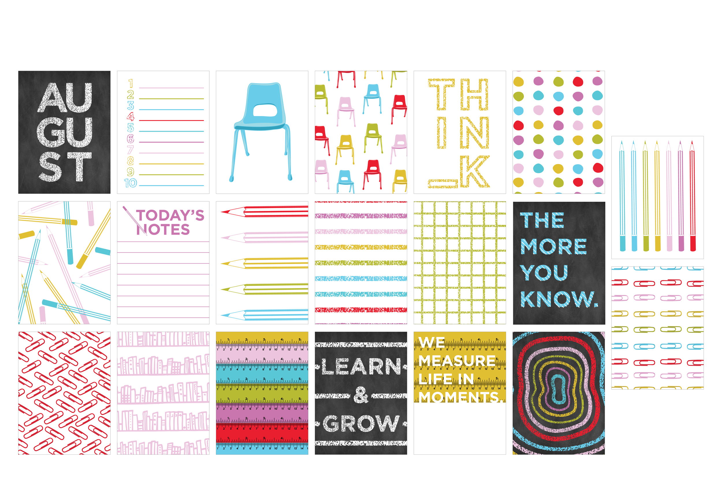 AUGUST KIT 'ELEMENTARY' 3X4 CARDS | THE PAPER CURATOR