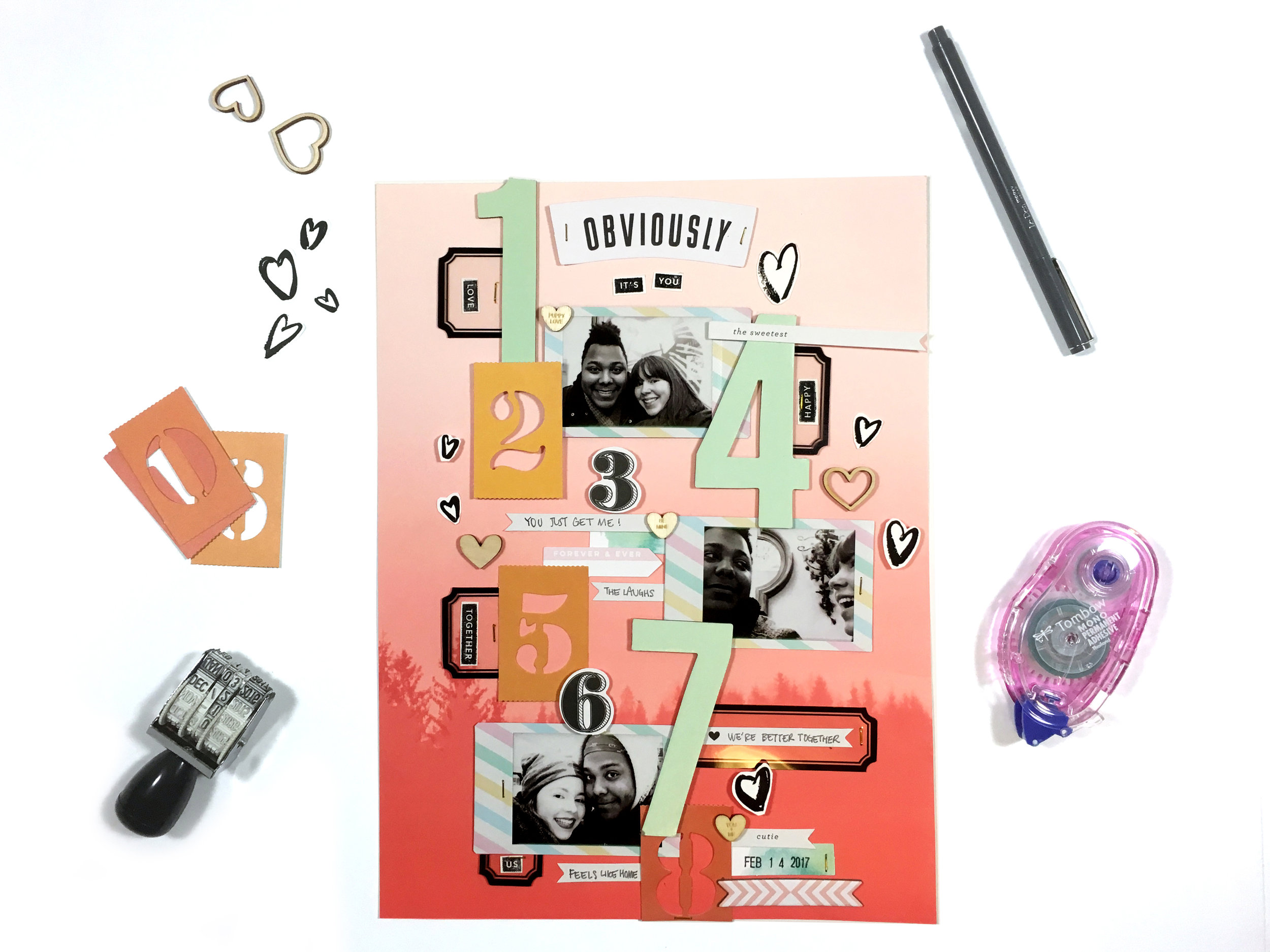 February Kit Sneaks | Scrapbook Layout | The Paper Curator
