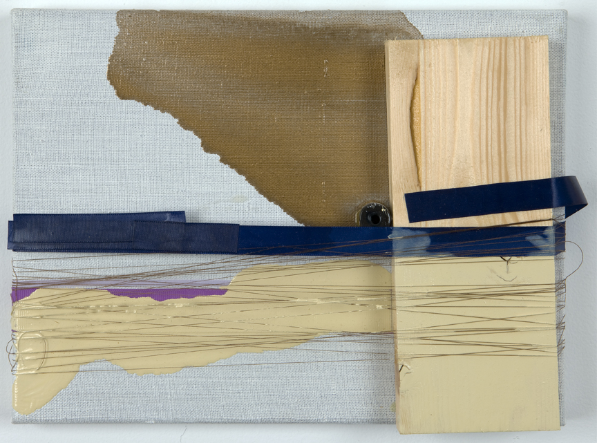 After Lee, 2008 Enamel, wood, ribbon, thread and bead on line 9 x 12 inches