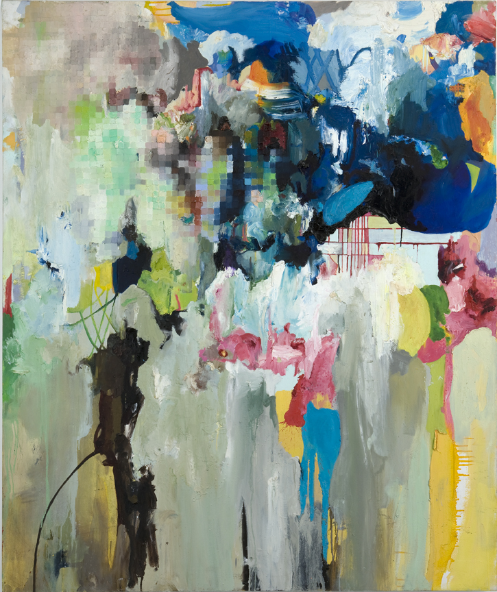 Push, 2001 Oil, enamel, beads and mixed media on canvas 72 x 60 inches