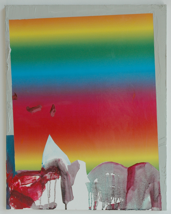 Rainbow Fade, 2007 Oil and paper on canvas 28 x 22 inches