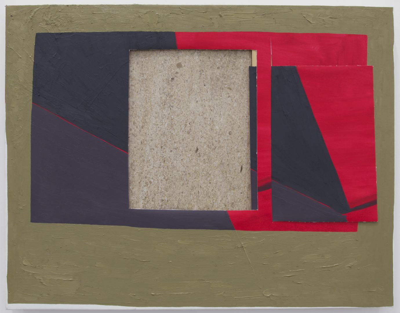Vertigo, 2011 Oil on canvas with wood and granite 22 x 28 inches