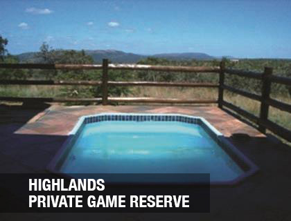 <p>Beautiful, bushveld reserve providing stunning views from its mountain ridges<a href=/highlands>More →</a></p>