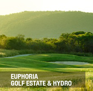 EUPHORIA GOLF ESTATE & HYDRO.This magnificent, golf estate, the first to be designed by Annika Sorenstam, is situated only 2 hours north of Gauteng in the beautiful bushveld town of Mookgophong (Naboomspruit).  Not only does the Estate offers an unforgettable golf experience but also luxurious accommodation, a self sustained Hydro, Clubhouse and practice facilities, Golf Academy, Equestrian Centre, Business and Commercial Centre as well as plenty of activities for the whole family!  Activities include tennis, squash, swimming pools, water slides and gymnasium.  Nature activities such as game viewing, fishing, bird watching and nature trails are also offered.