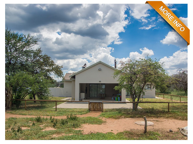 SH01  |  PERFECT BUSHVELD HOME FOR A YOUNG FAMILY   This beautiful tiled roof unit has consist of 3 bedrooms and 2 bathrooms. Large lounge, dining room,TV room, open plan kitchen, scullery, and storeroom. Build in braai on the large stoep and a boma.  The unit will be sold fully furnished.  Security on this estate is high on our priority list.  Controlled access,  This property much to offer, an ideal holiday, retirement home or a house to rent out with an income, co-ownership available.      PRICE: R2 200 000