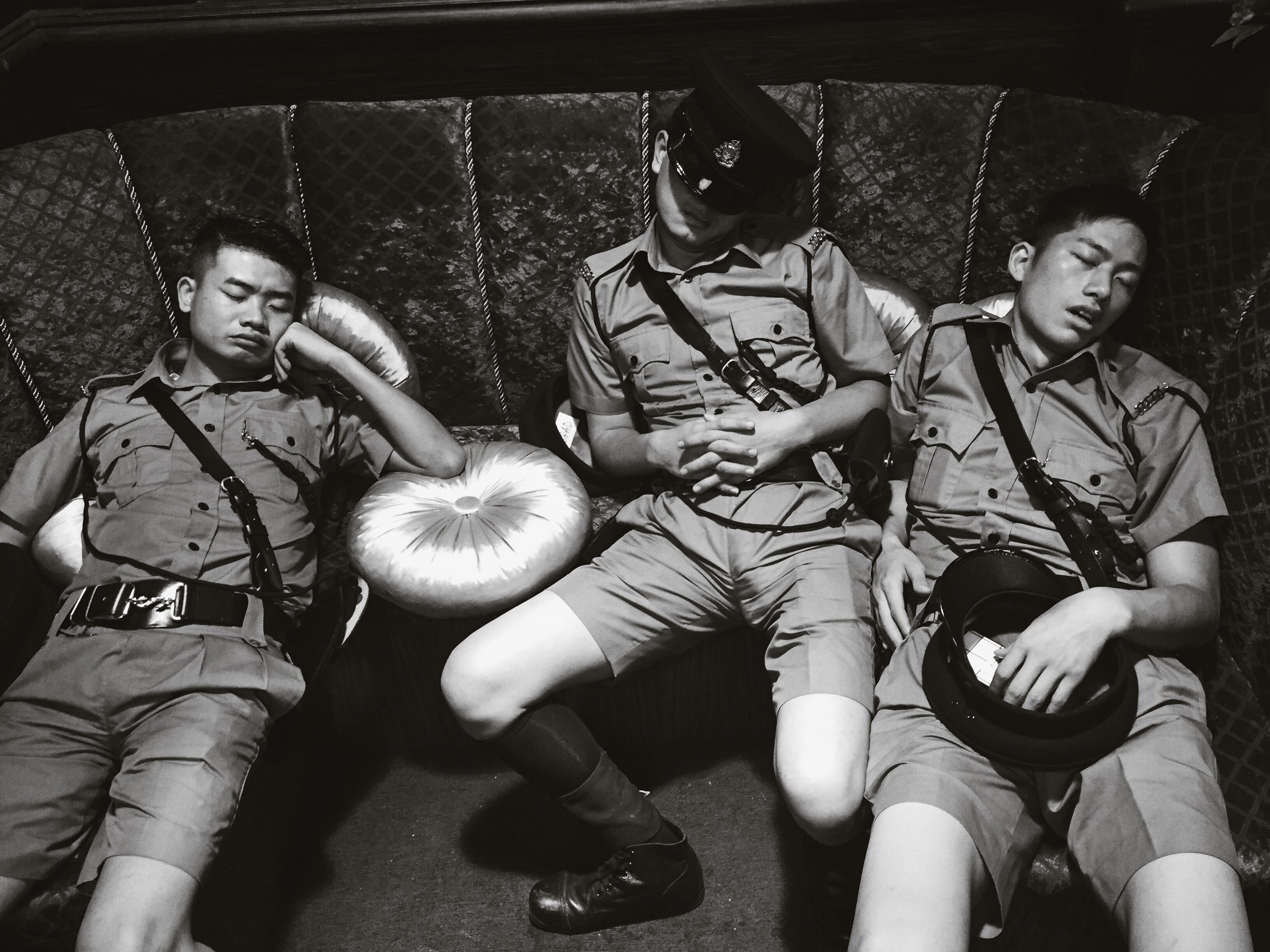 Tired police officers