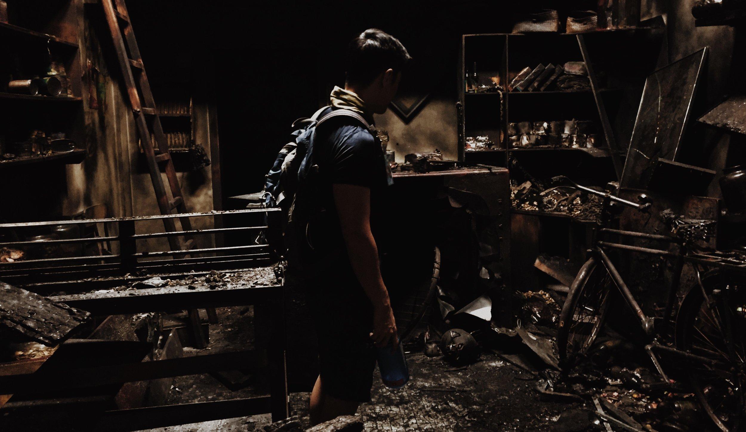David in a burned set