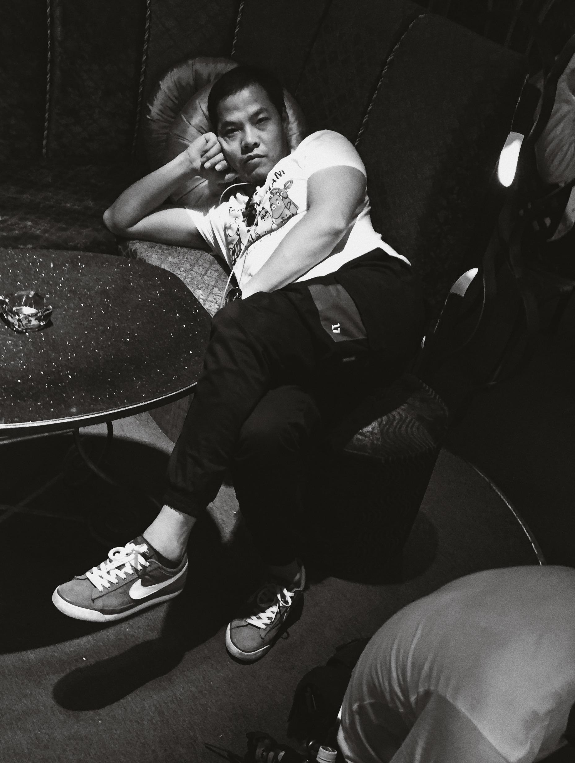 Props guy reclining