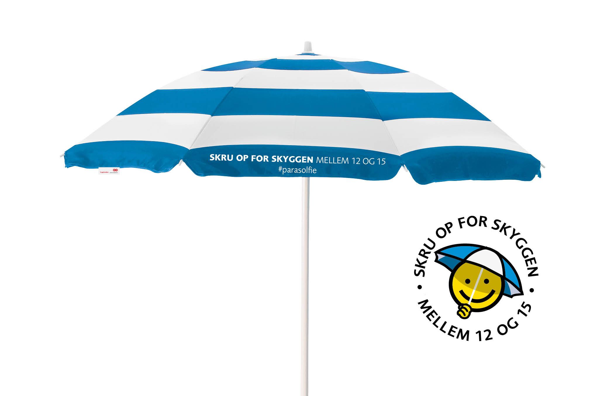 Kampagnens hovedelement, parasolen med kampagnetryk
