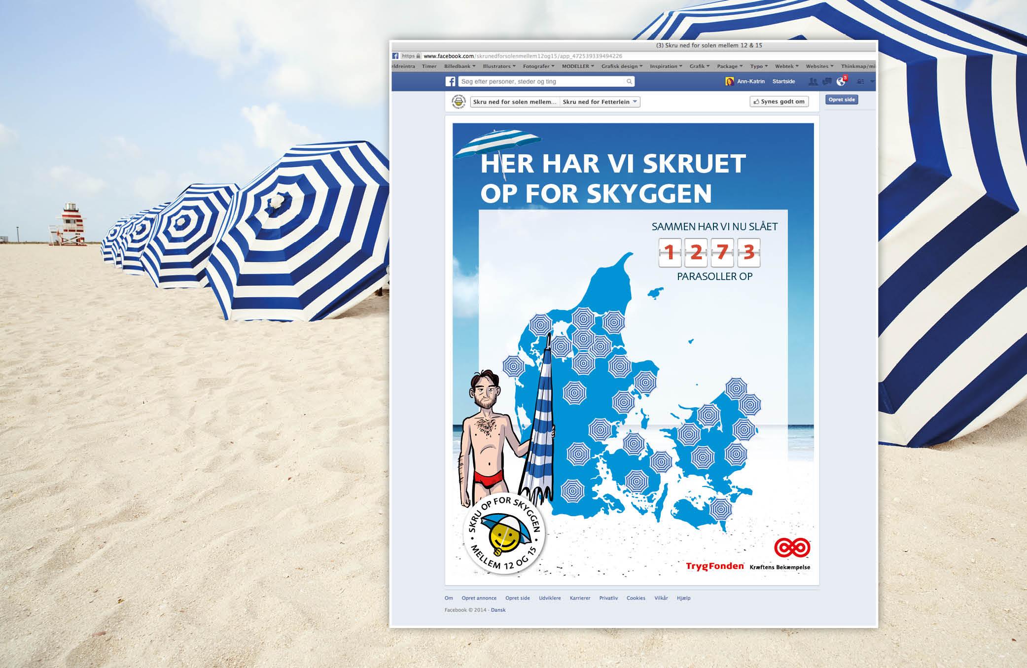 Danmarkskort:For hver parasol vi slår op, sætter vi en ny pin. Kortet lyser på fællesskabet og den sociale norm nudger flere til at være.