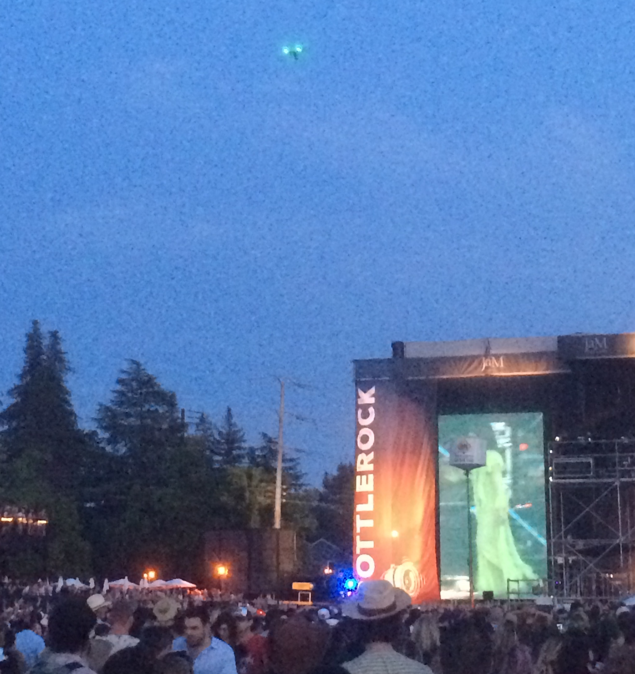 A DJI Inspire 1 V5 seen above the crowds of the BottleRock Festival on May 28, 2016.