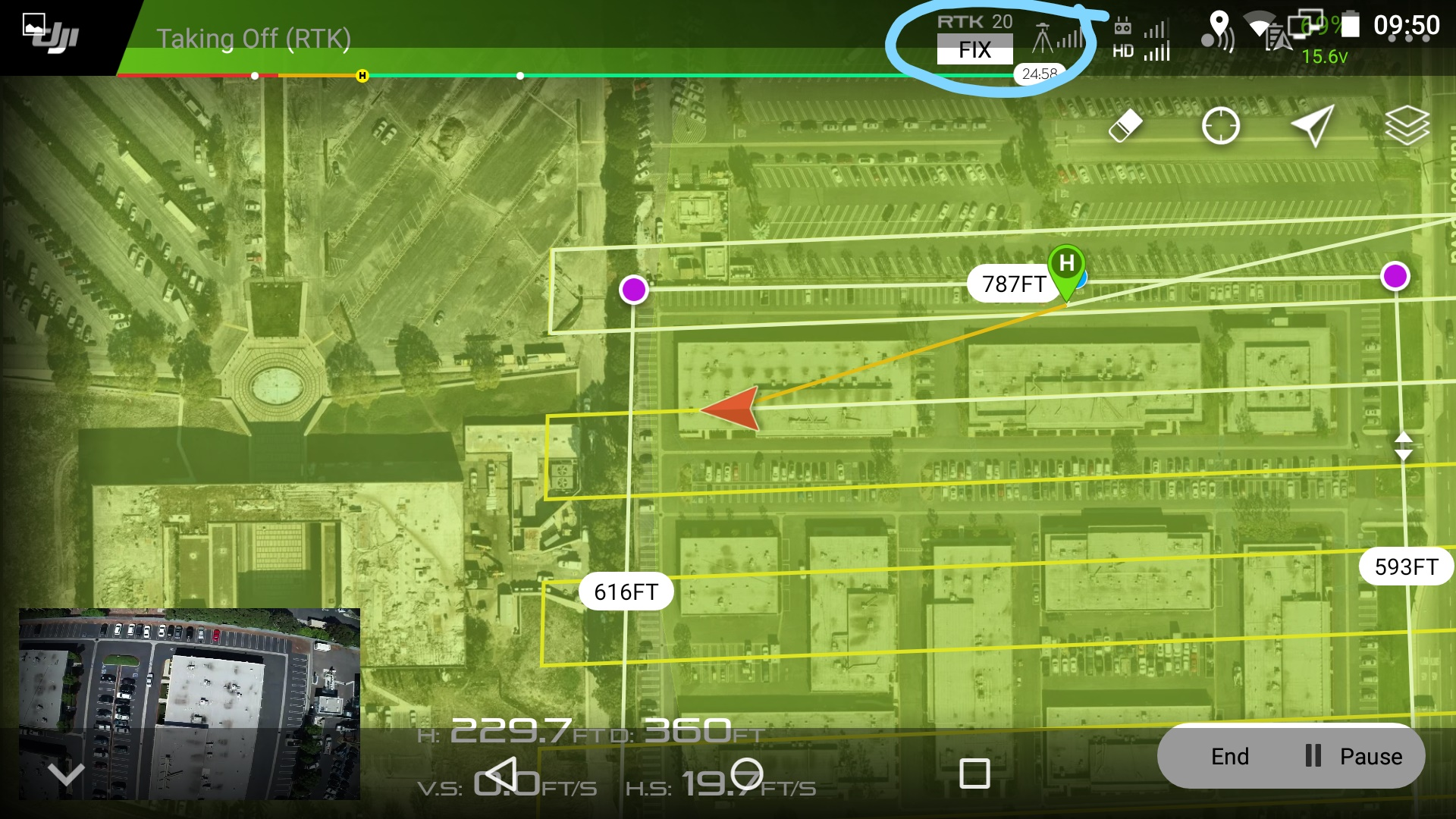 RTK Fix status should remain on and connected throughout flight.