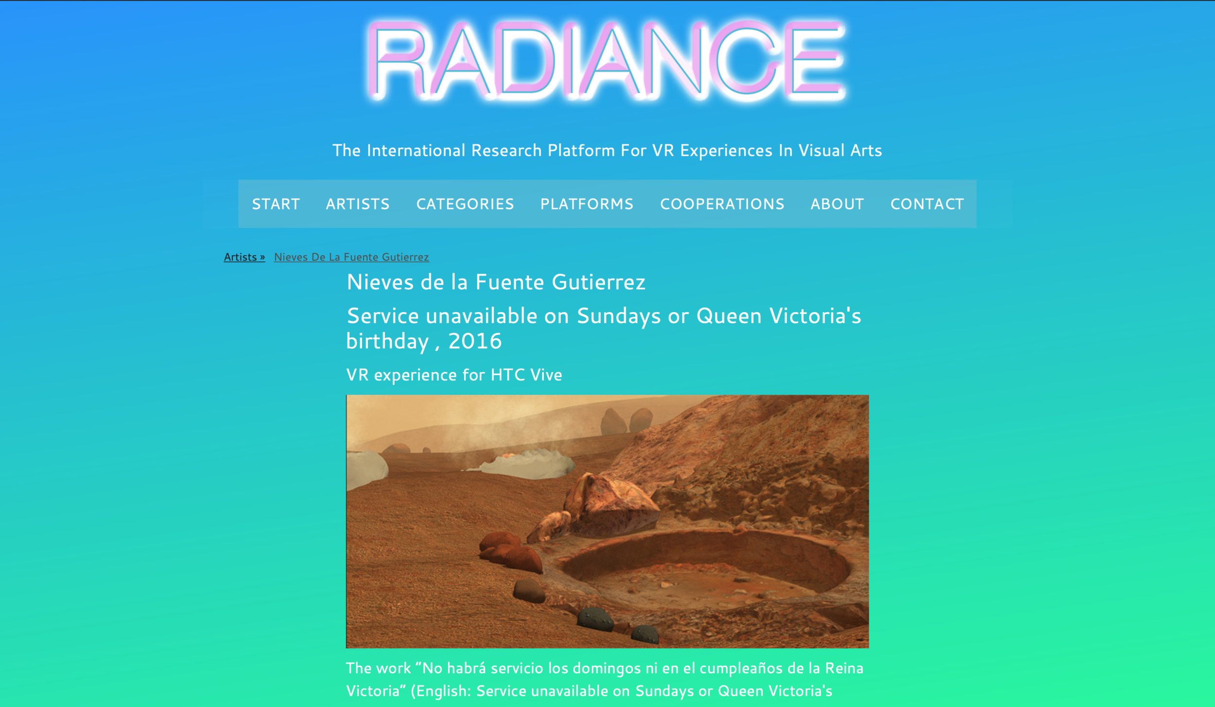 "My Installation ""No habrá servicio los domingos ni en el cumpleaños de la Reina Victoria"" has been featured in  Radiance , a platform for VR Experiences run by Curator Tina Sauerlaender & Philip Hausmeier"