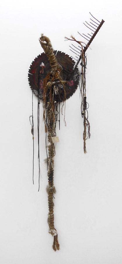 Ralf MARSAULT.  Wirbel Wahn  , 2012. Technique mixte. 170 x 60 cm.  Courtesy Galerie Coullaud-Koulinsky, Paris