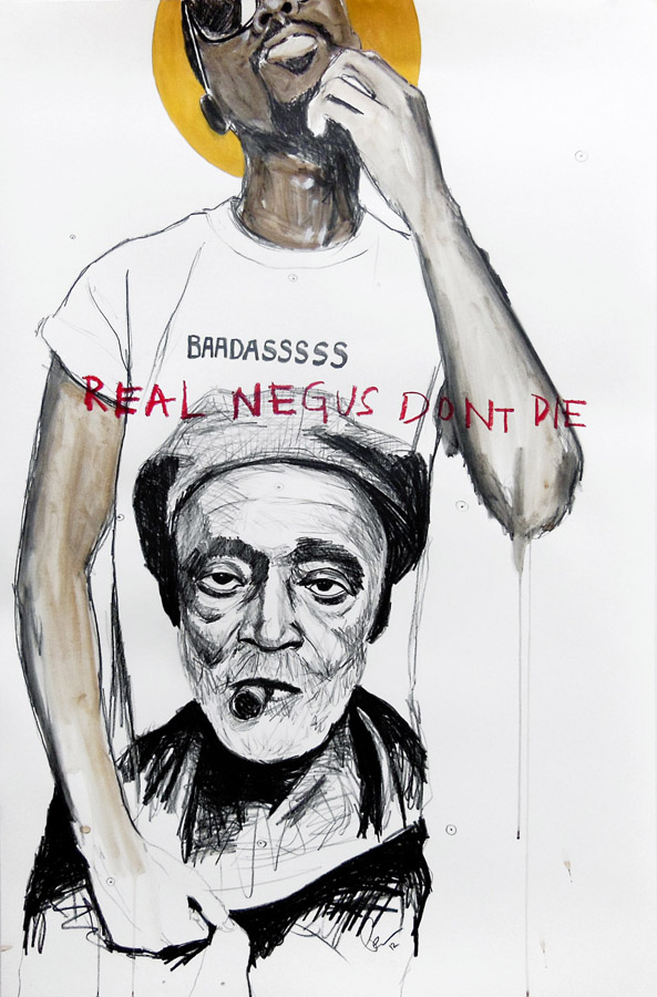 Real NEGUS don't die: Baadasssss  , 2012.   Crayon, acrylique et pastel gras sur papier \ Graphite, acrylic and oil stick on paper.   101 x 66 cm
