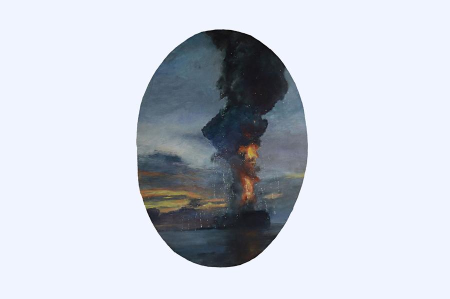 JENNY BOURASSIN   Au-dessous du volcan 3 \ Under the volcano, 2011. Huile sur papier \ Oil on paper. 80 x 120 cm