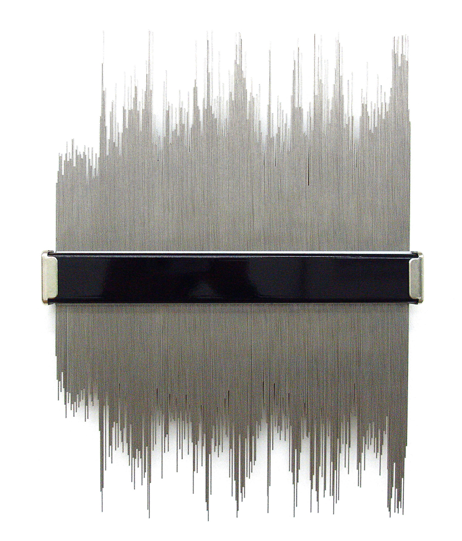 CHARLOTTE CHARBONNEL   Signal wow, 2012. Tiges en inox et conformateur \ Stainless steel and measurer tool. 40 x 31 cm