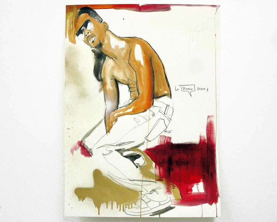 FAHAMU PECOU   Lo Down Dirty, 2011. Acrylique, bombe de peinture et crayon sur papier \ Acrylic, spray paint and pencil on paper. 75,5 x 57 cm