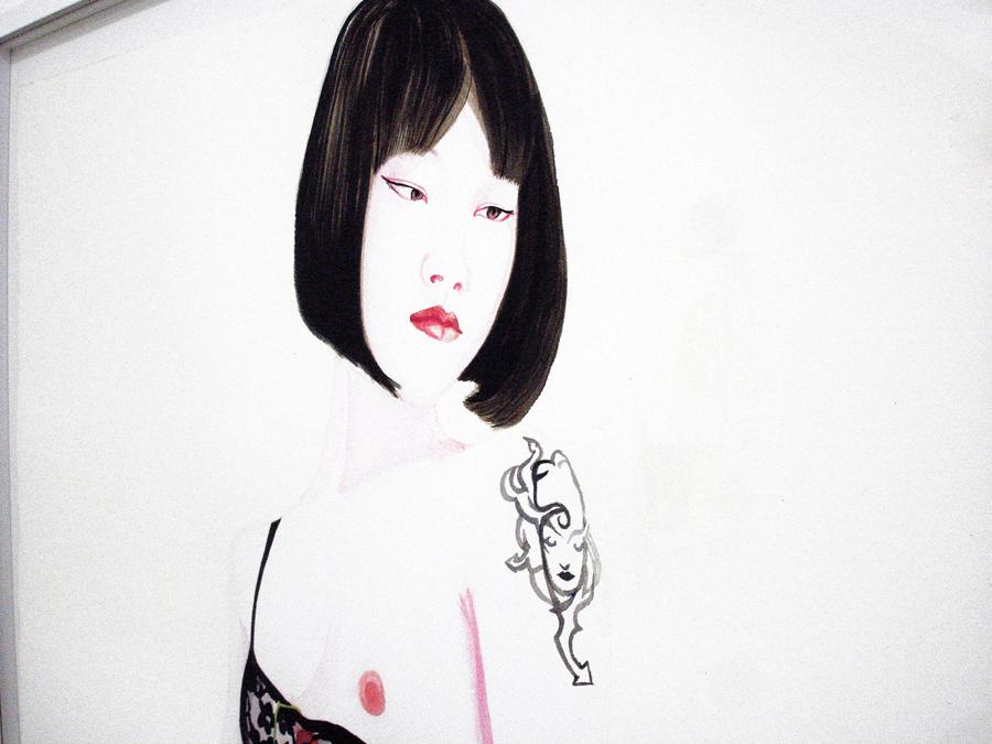 Juning (1), 2011. Aquarelle, encre de chine et laque sur papier \ Watercolor, ink and lacquer on canvas. 77 x 56 cm (Detail)