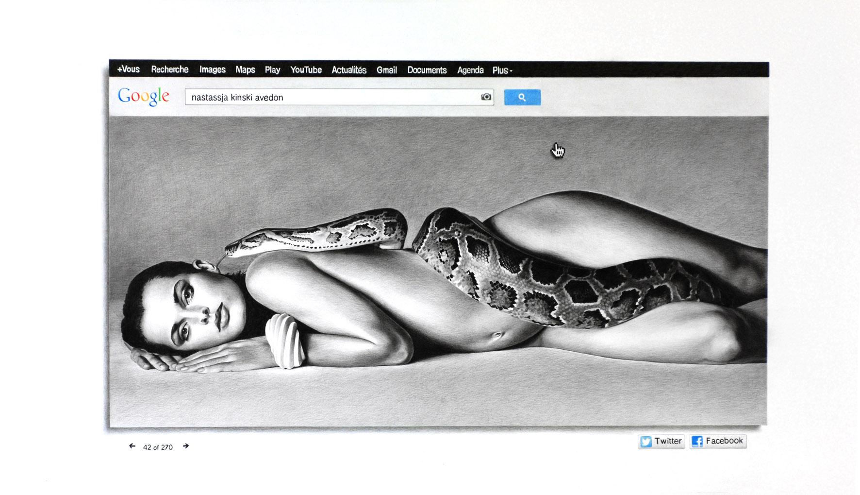 FRANCE BIZOT   Kinski Avedon, 2012. Crayon sur papier \ Pencil on paper. 70 x 121 cm