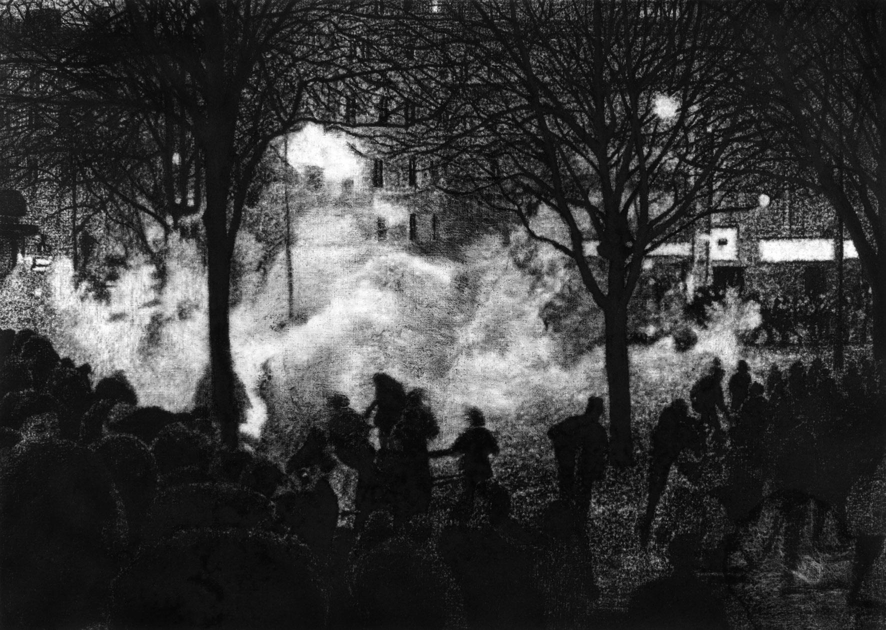 Manifestation 05, 2016. Fusain sur papier / Charcoal on paper. 54 x 76 cm