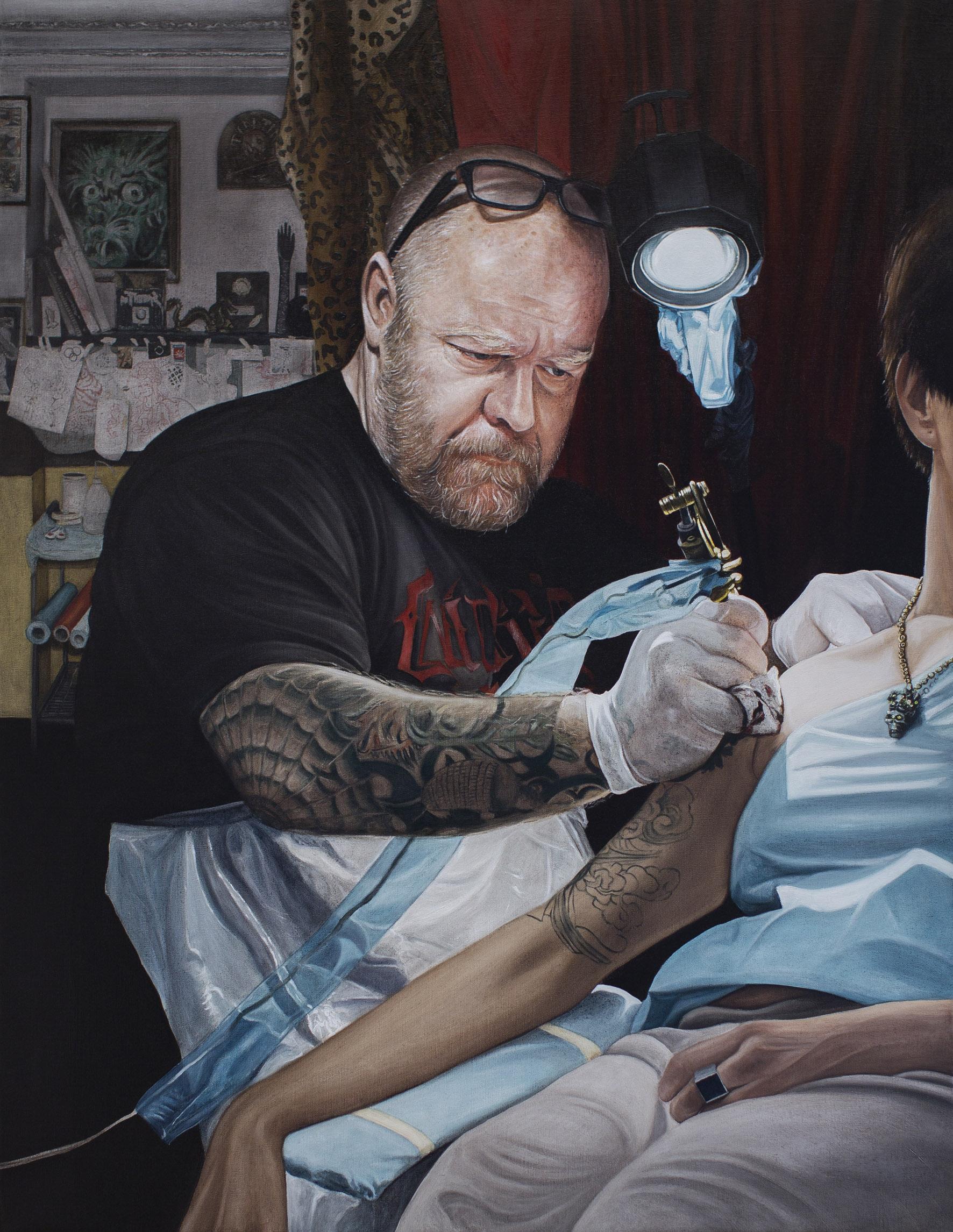 Le tatoueur, 2014. Huile sur toile / Oil on canvas. 116 x 88,5 cm