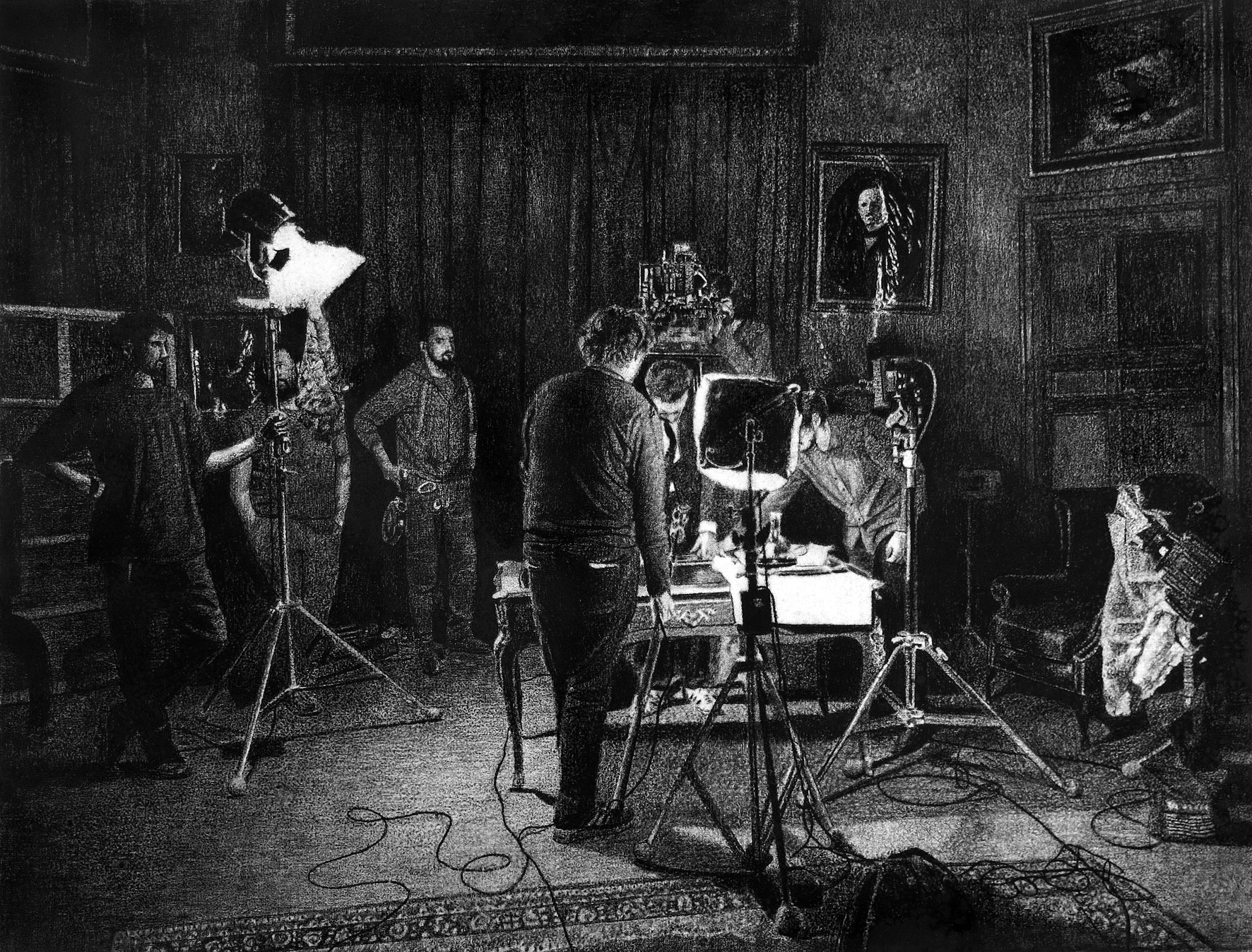 LEVY-LASNE-16 Le tournage (115x150cm fusain sur papier).jpg