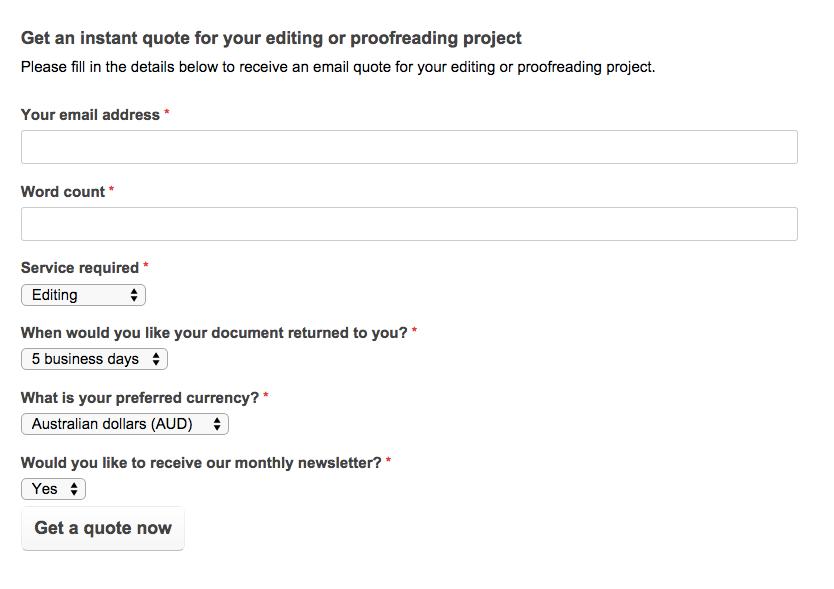 screenshot of online quote calculator