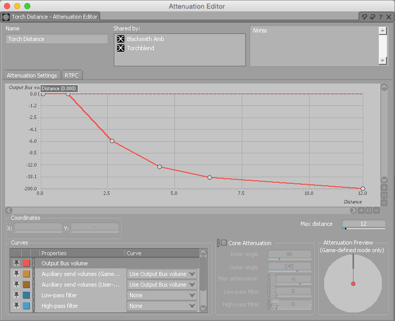 Wwise attenuation editor