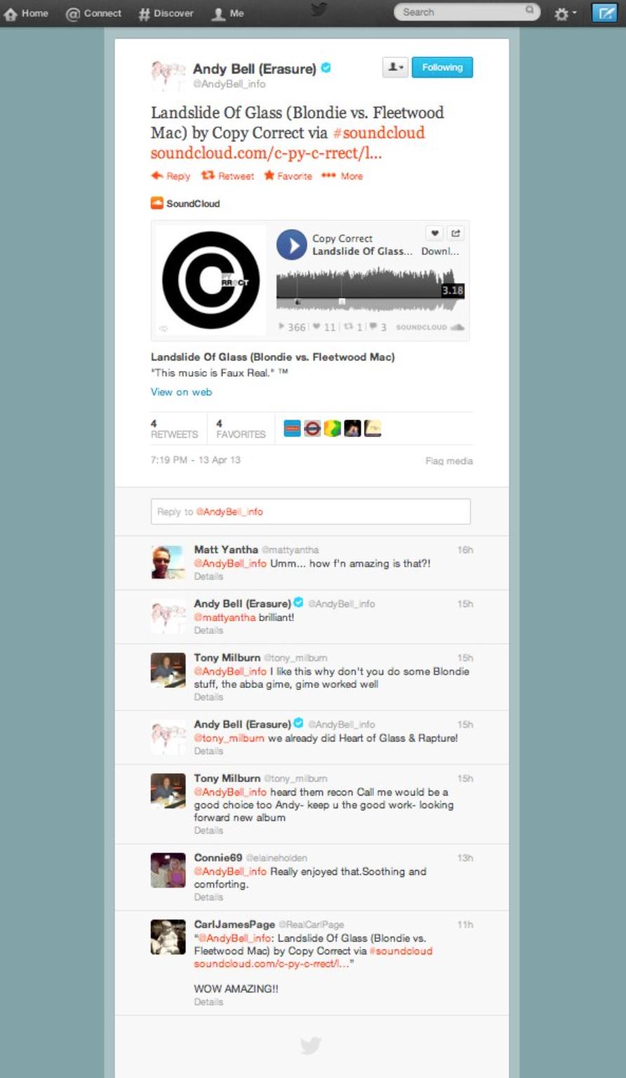 Erasure Twitter support