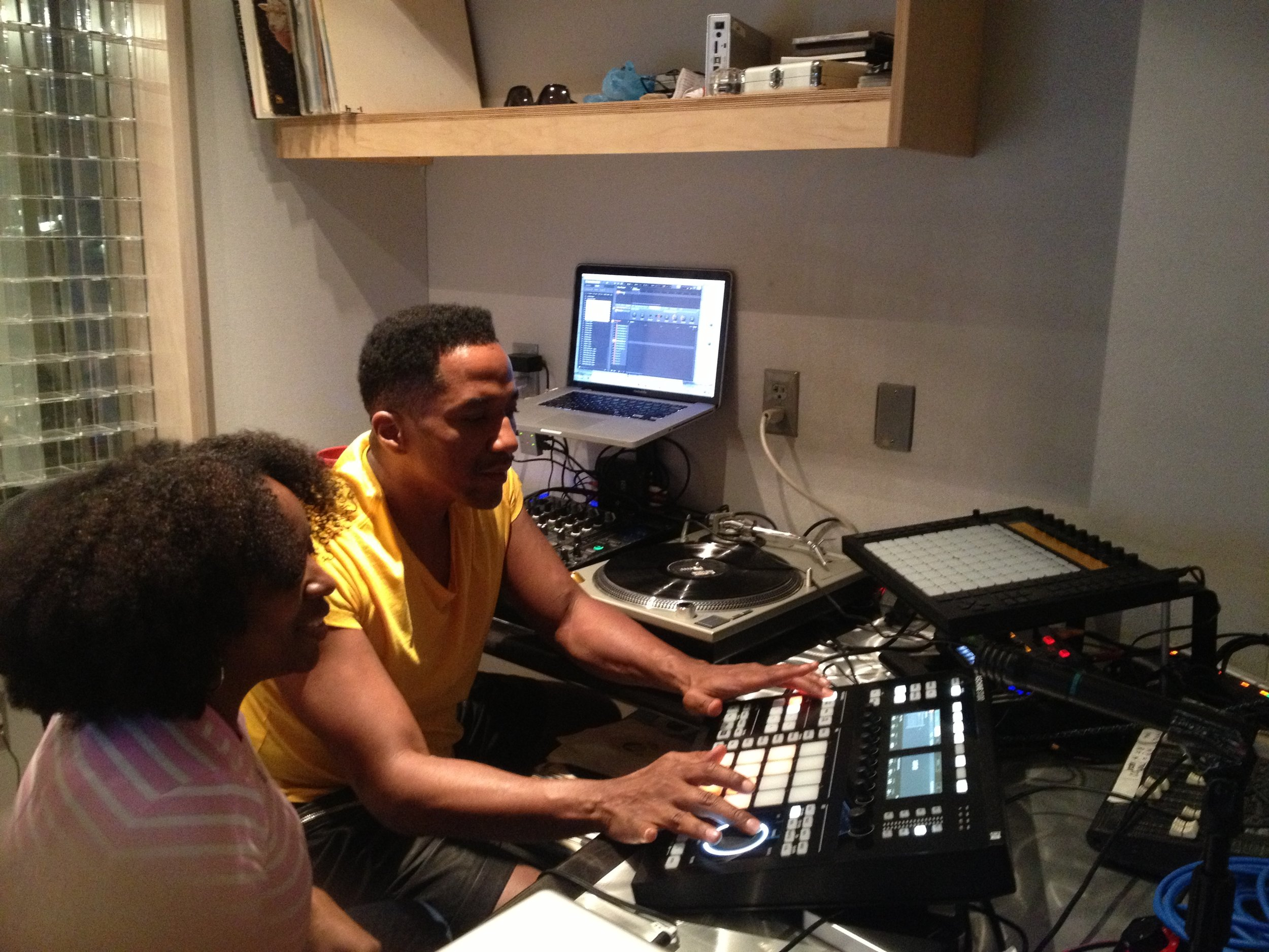 Stoni in the studio with Q-Tip
