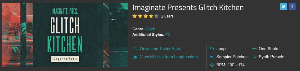 Imaginate's Glitch Kitchen Sample Pack hosted by Loop Masters