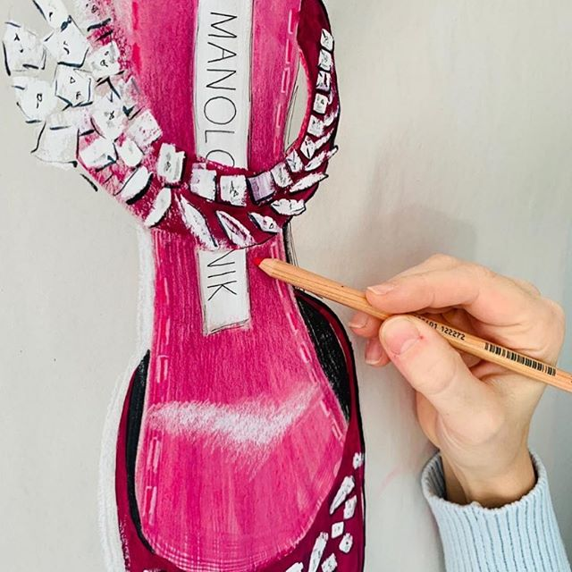 For sale! Go to my stories for more info. 👠 #nicolejarecz #illustration #fashionillustration #fashionillustrator #wallart #fashionart #statement #luxury #manoloblahnik #detroitartist #detroitblogger